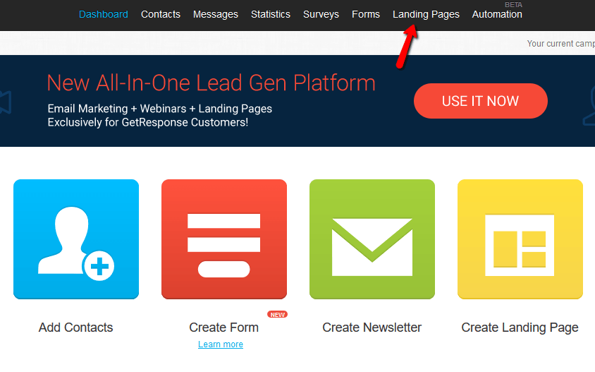 how to create a landing page with getresponse